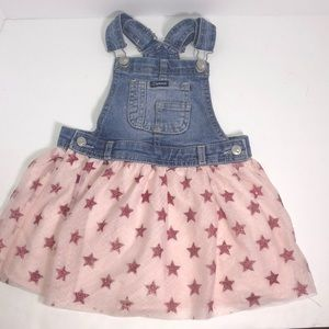 Jordache Overall Dress Pink with Stars 4T